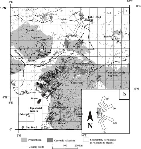 fractal analysis of lineaments in equatorial africa  insights on lithospheric structure