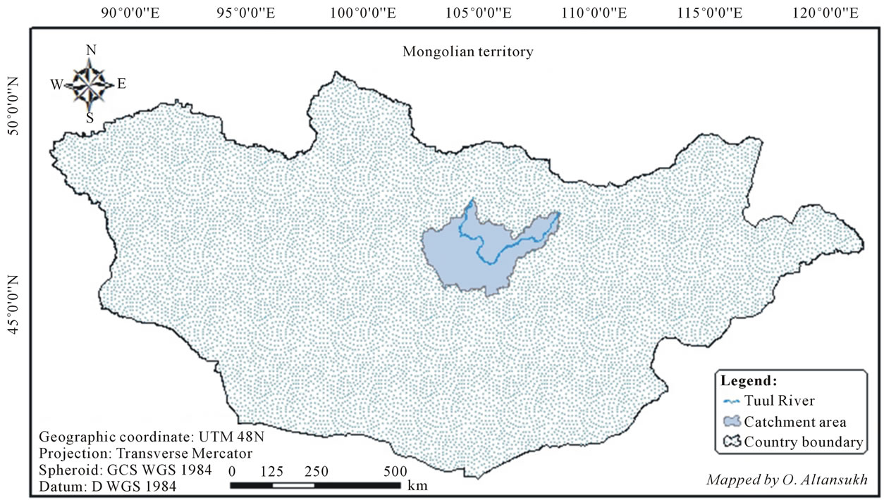 Tuul River And Its Catchment Area Delineation From Satellite