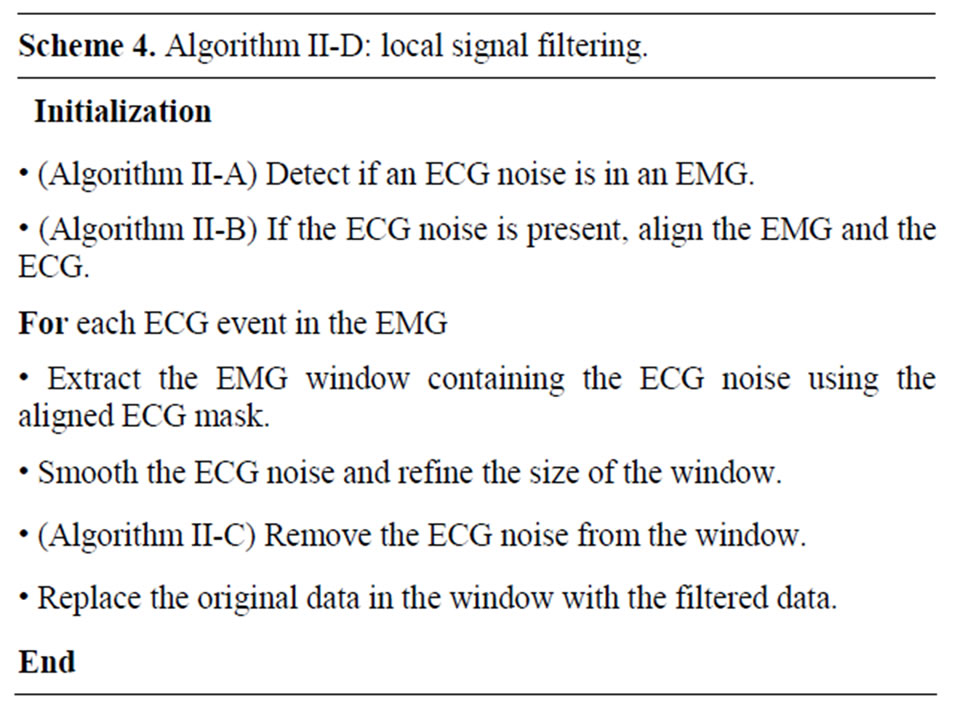 Local wavelet-based filtering of electromyographic signals to