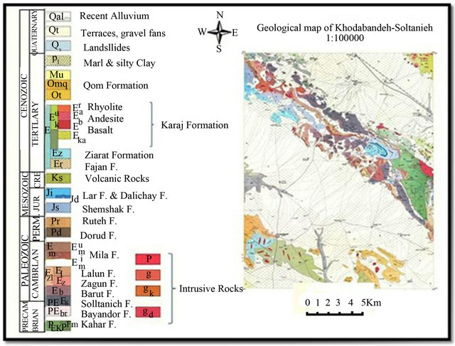 1100000 geological map of soltanieh khodabandeh geological survey of iran 1994