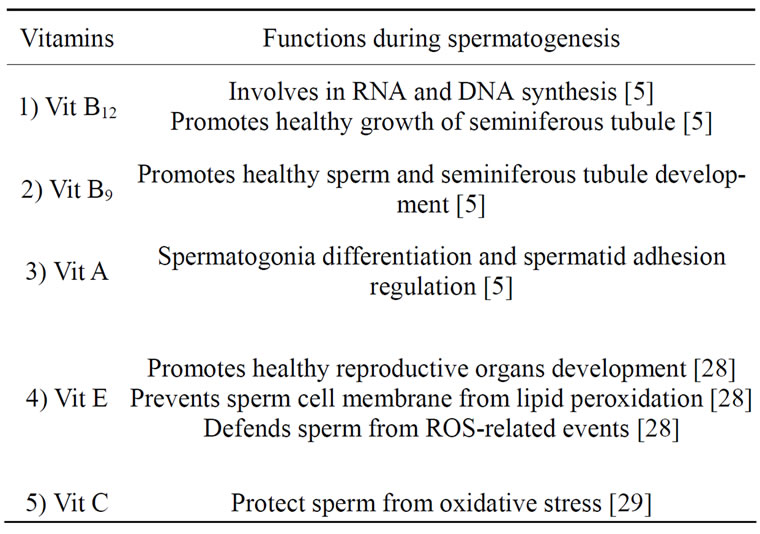 Functions Of Essential Nutrition For High Quality Spermatogenesis