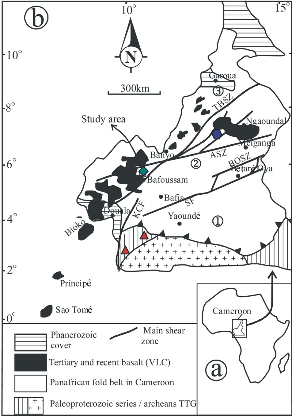 Petrochemical characterization of two distinct types of dolerites simplified geological map of cameroon showing the main lithological domains the cameroon volcanic line and the location of known dolerite occurrence ccuart Choice Image