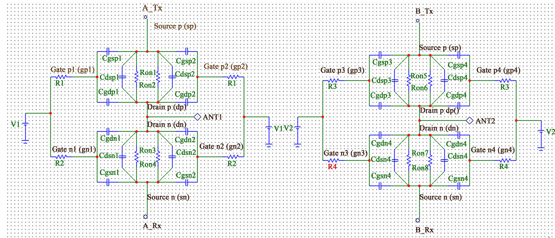 Capacitive Model And S Parameters Of Double Pole Four Throw Switch Circuit The Dp4t Dg Rf Cmos At On State