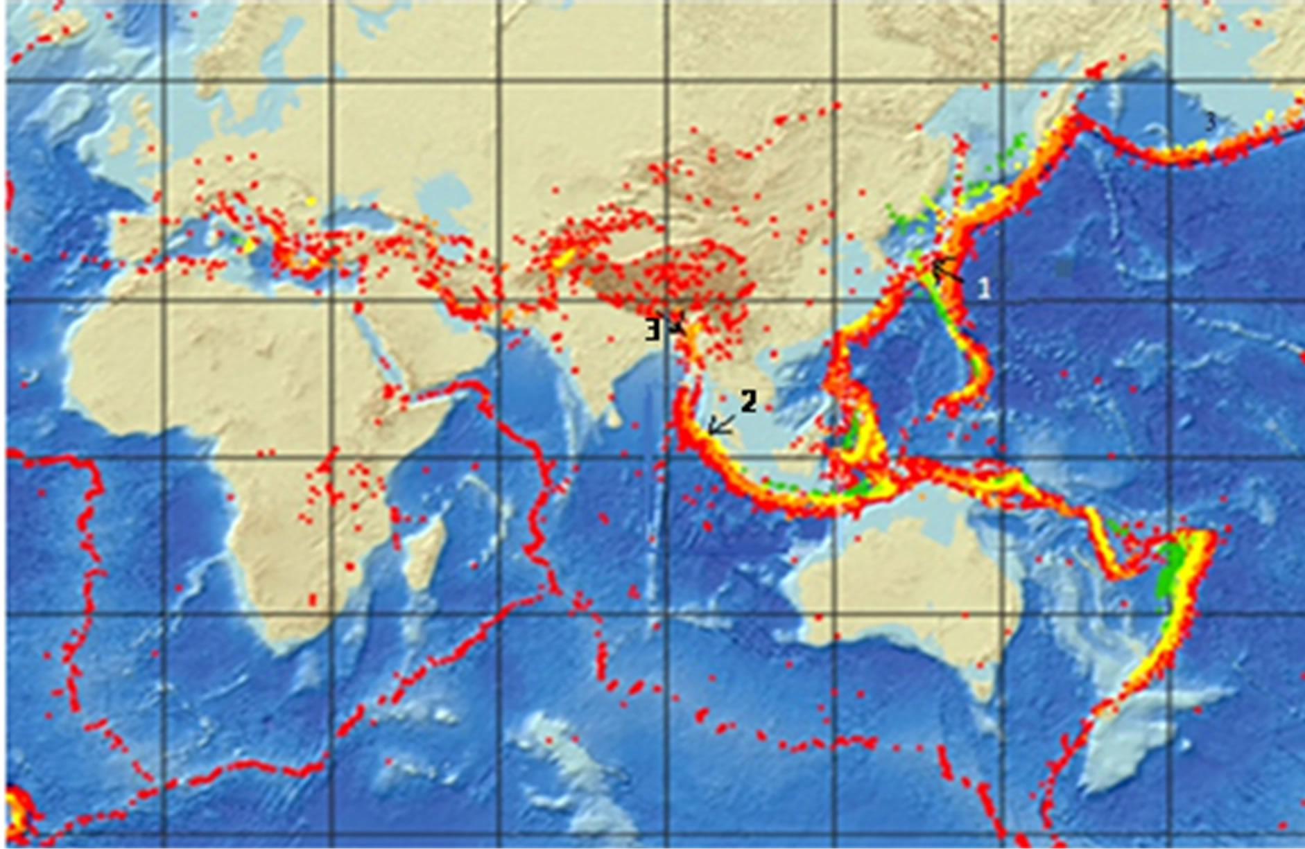 Growth and inhibition of equatorial anomaly prior to an earthquake displays the global seismic fault line the positions of epicenters of 1 japan eq and 2 indonesia eq are shown along with the location of 3 guwahati gumiabroncs Image collections