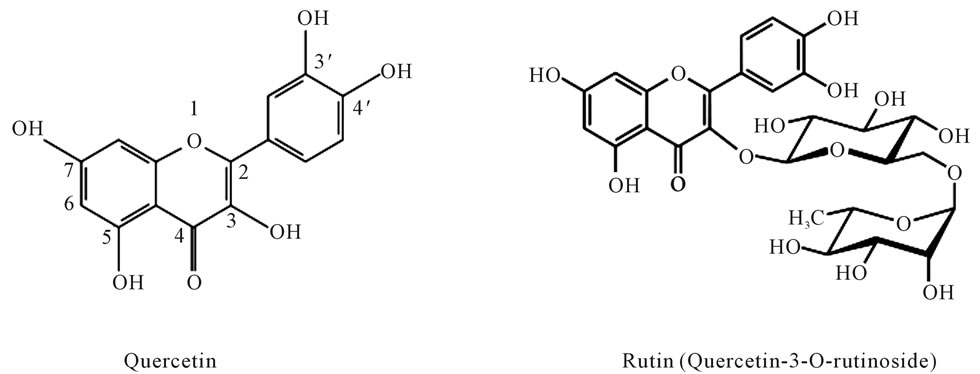 relaxant effects of quercetin and rutin on human isolated bronchus, Skeleton