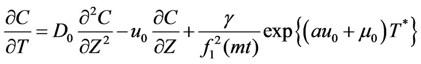 One Dimensional Solute Transport Originating from a Exponentially