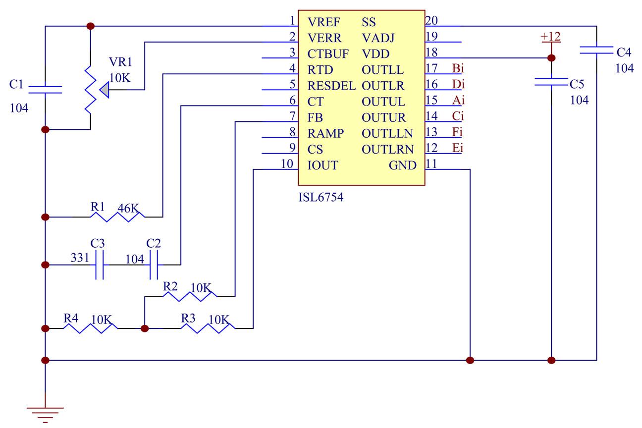 The Implementation Of A High Efficiency Full Bridge Converter Figure 51 Circuit Diagram Transformer 8 Isl6754 Control