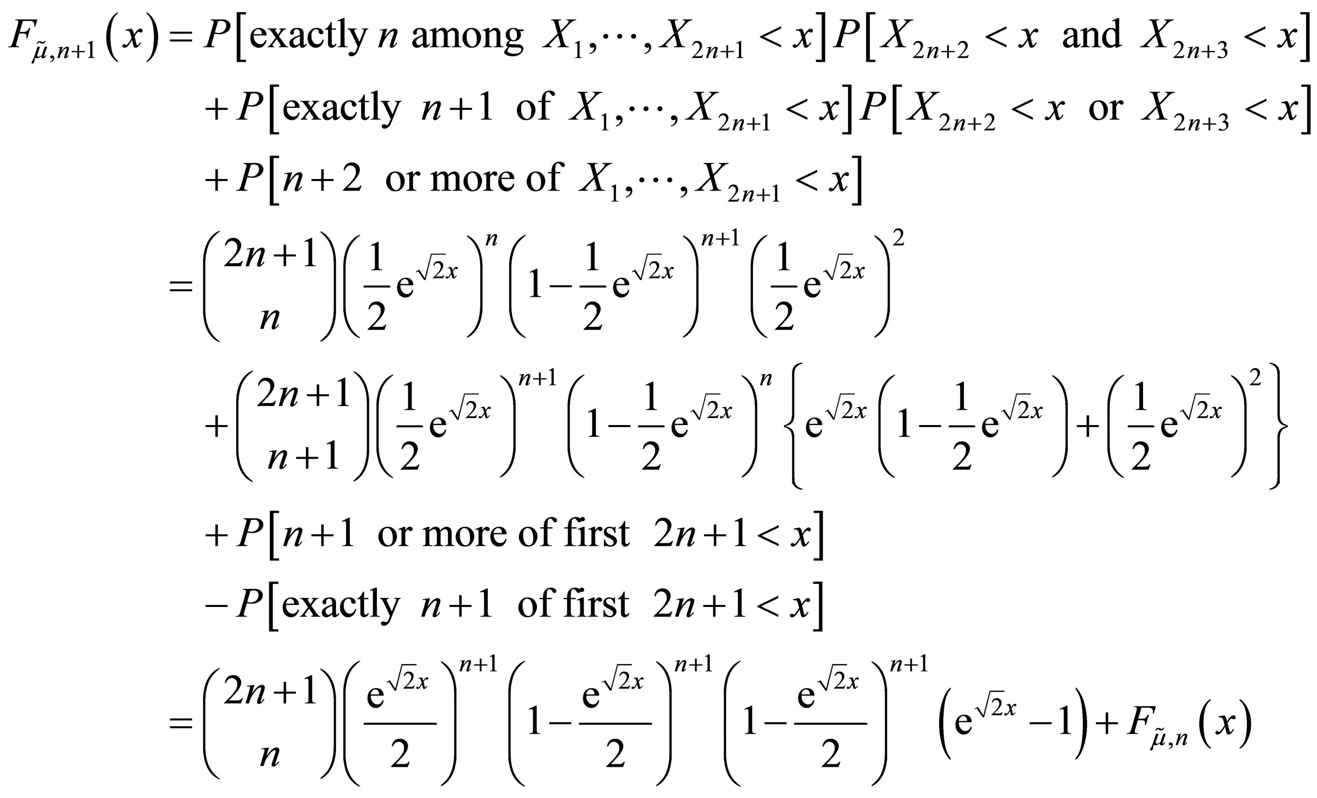 If The Median Of The Entire Sample Is Less Than X, Then There Are Three  Possible Cases For Such Numbers: Exactly N, Exactly N + 1, Or At Least N +  2