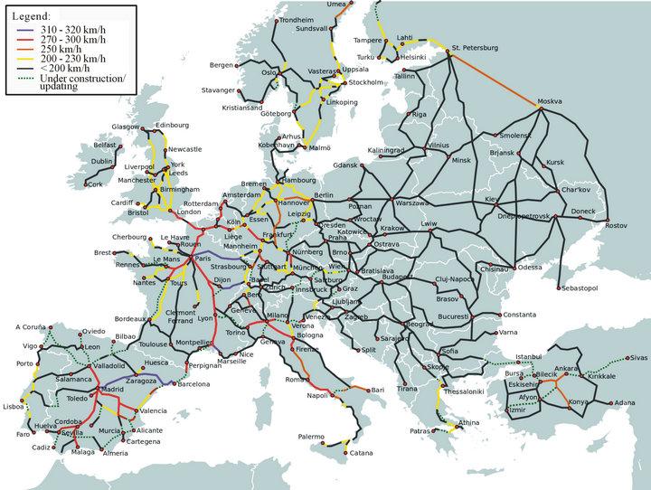 Europe Train Map High Speed   casami