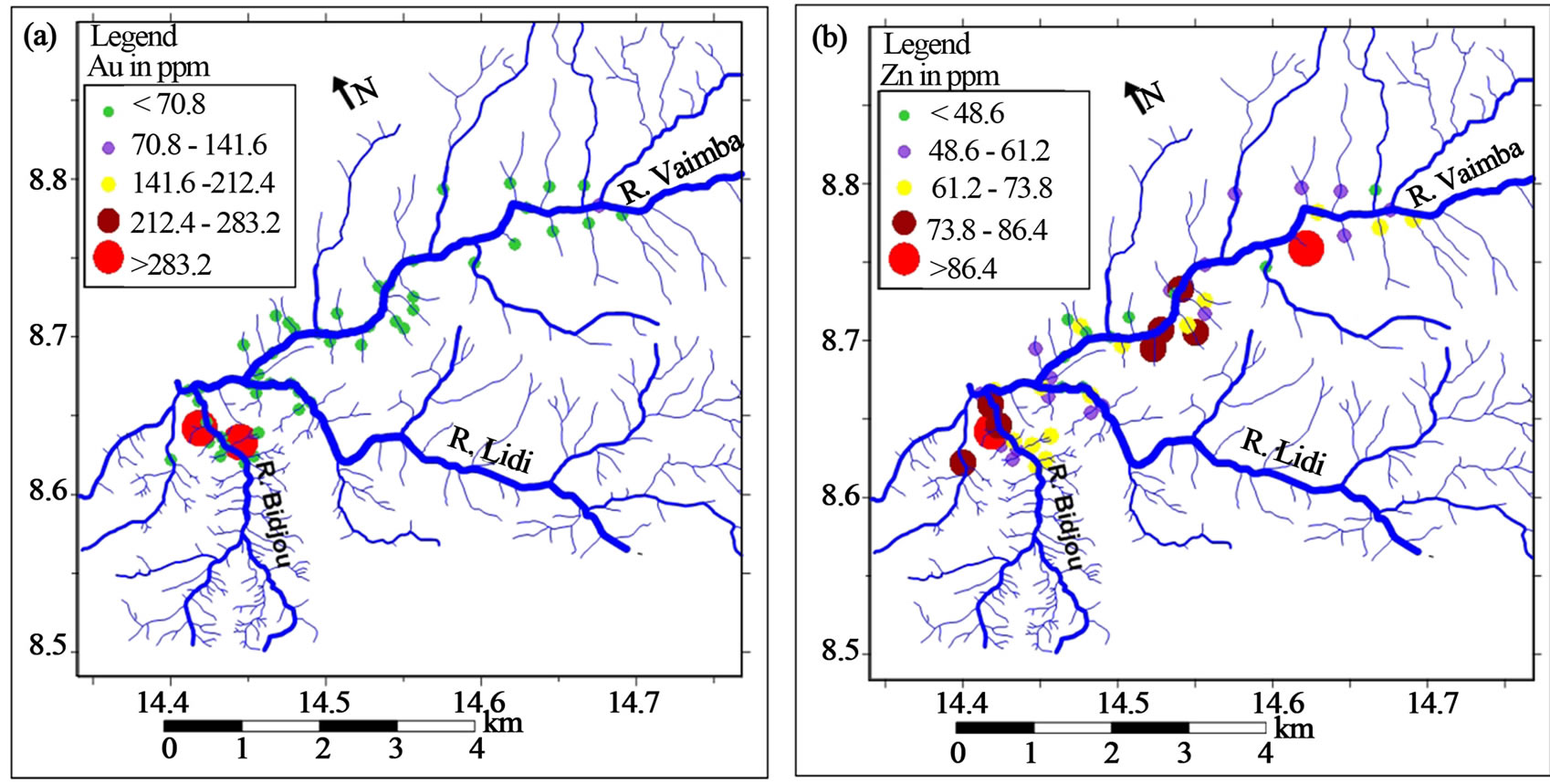 Gold grade variation and stream sediment geochemistry of the graduated symbol plot for a au and b zn concentrations determined by fire assay and icp ms respectively overlain on the drainage map of the vaimba lidi biocorpaavc Image collections
