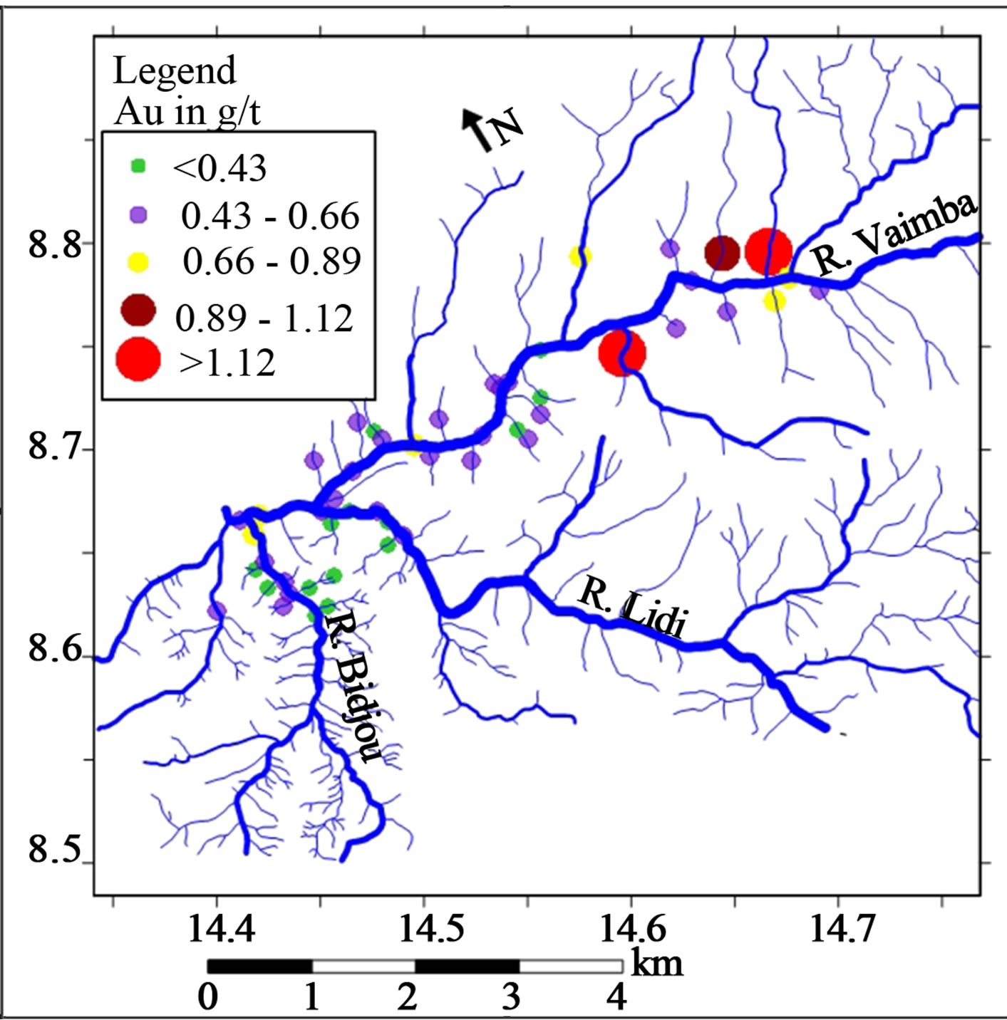 Gold grade variation and stream sediment geochemistry of the graduated symbol plot for visible au by panning and weighing technique gt overlain on the drainage map of the vaimba lidi area of north cameroon biocorpaavc Image collections