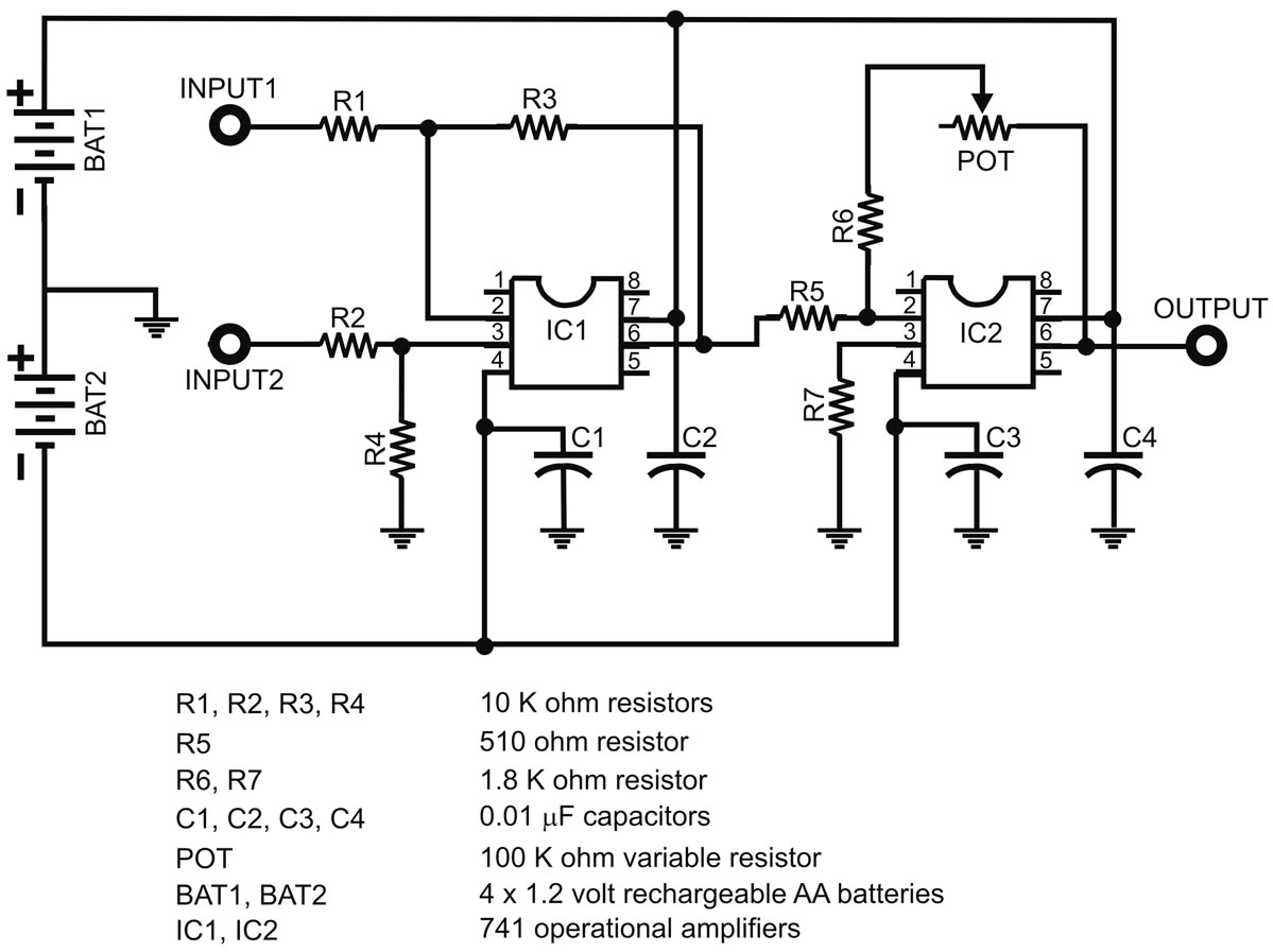 Inexpensive Geophysical Instruments Supporting Groundwater Batteryvariableresistorcircuitnov2012p23q4png Figure 12 Electronic Schematic For Amplification Of The Seismic Signal
