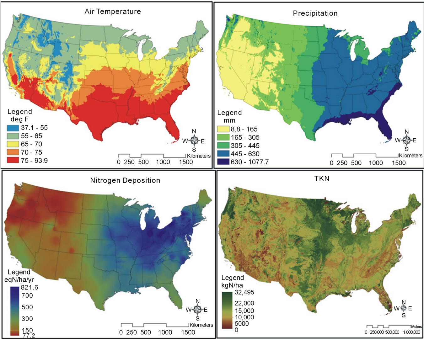 Net Nitrogen Mineralization In Natural Ecosystems Across The - North america air temperature map