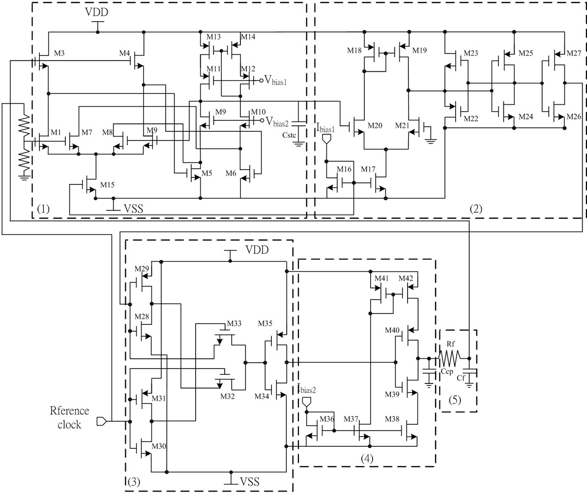 A Simple On Chip Automatic Tuning Circuit For Continuous Time Filter Low Pass Diagram The Structure Of Proposed 1 Stc 2 Voltage Comparator 3 Phase Detector 4 Charge Pump 5