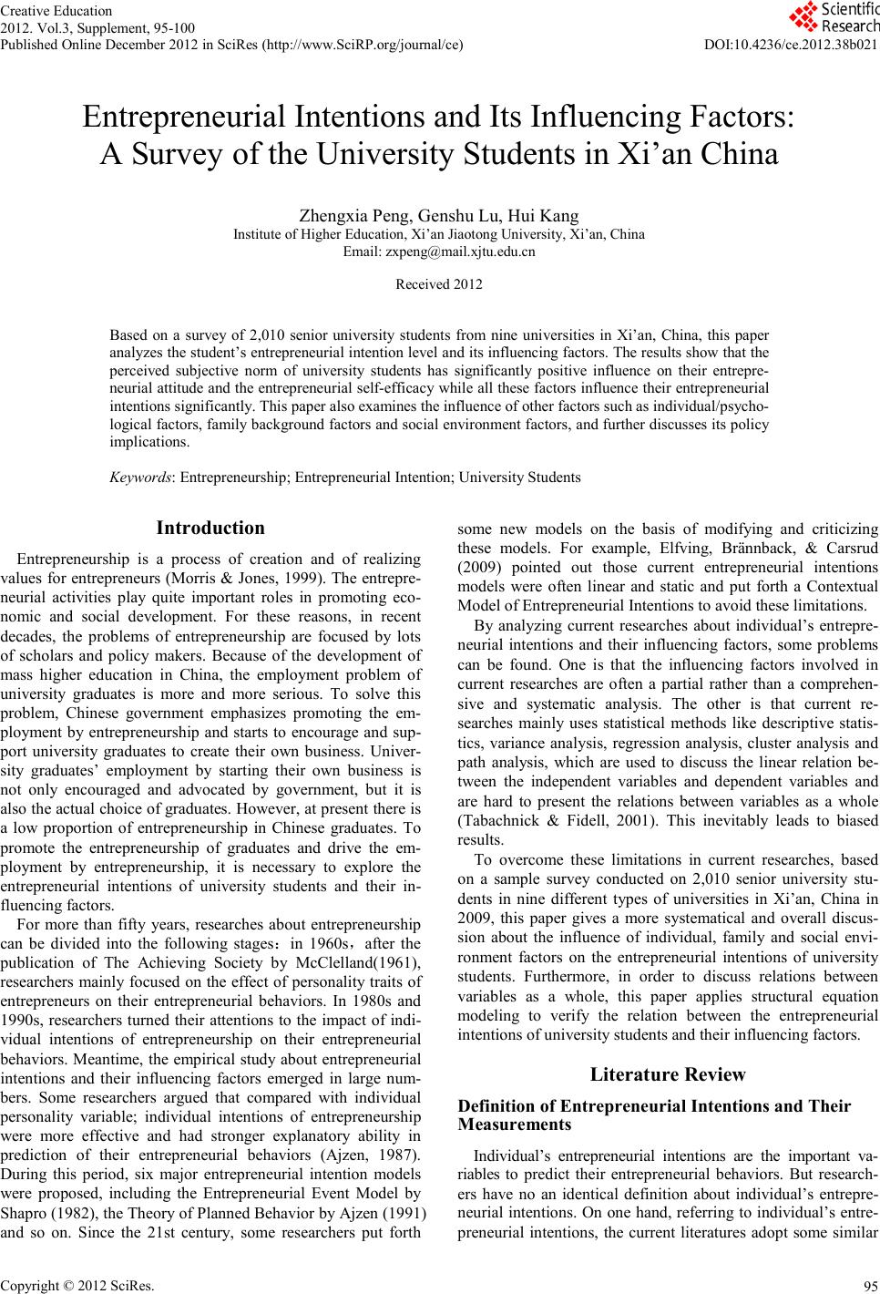 studying gender effect on entrepreneurial intentions