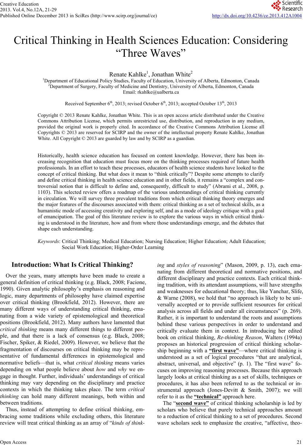 critical thinking dispositions among newly graduated nurses
