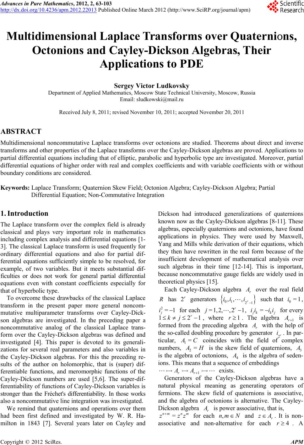 Multidimensional Laplace Transforms over Quaternions, Octonions ...