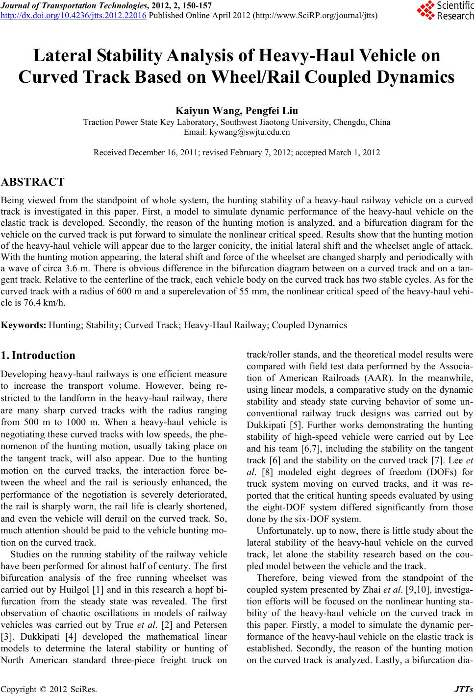 Heavy Vehicle Systems International Journal Of Vehicle Design