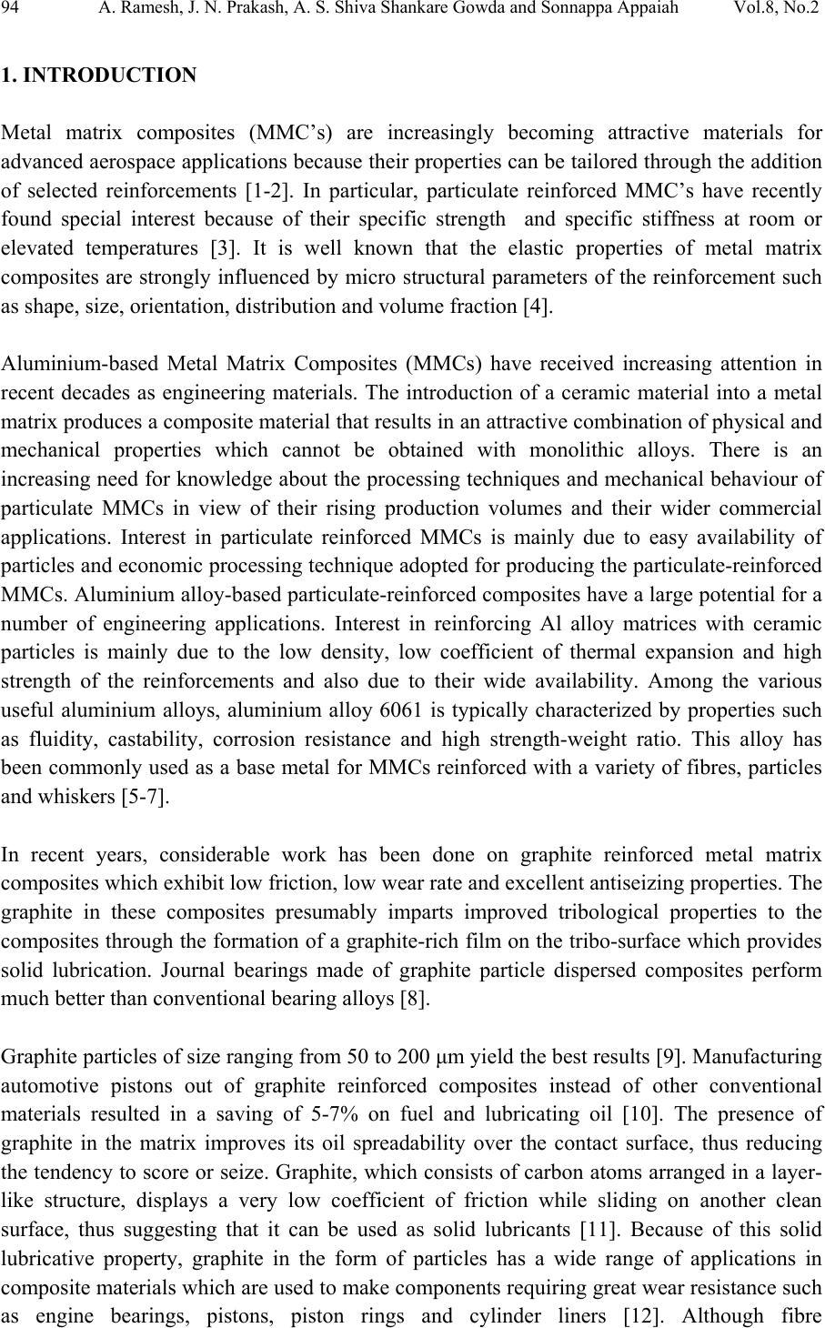 comparison of the mechanical properties of al6061albite and al6061graphite metal matrix composites
