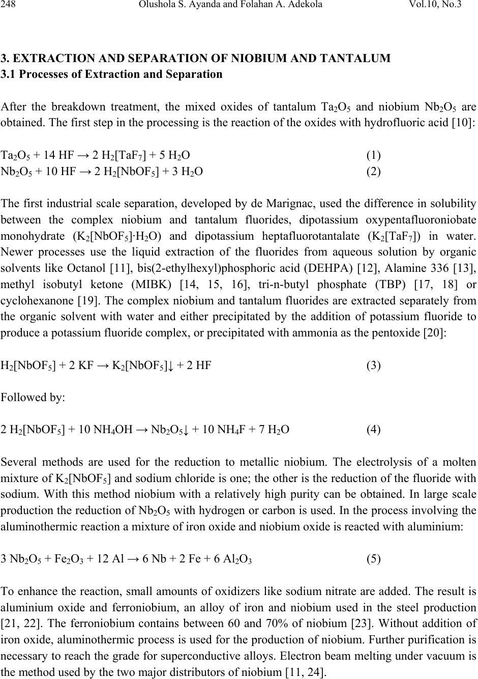 A review of niobium tantalum separation in hydrometallurgy 248 olushola s ayanda and folahan a adekola vol10 no3 biocorpaavc