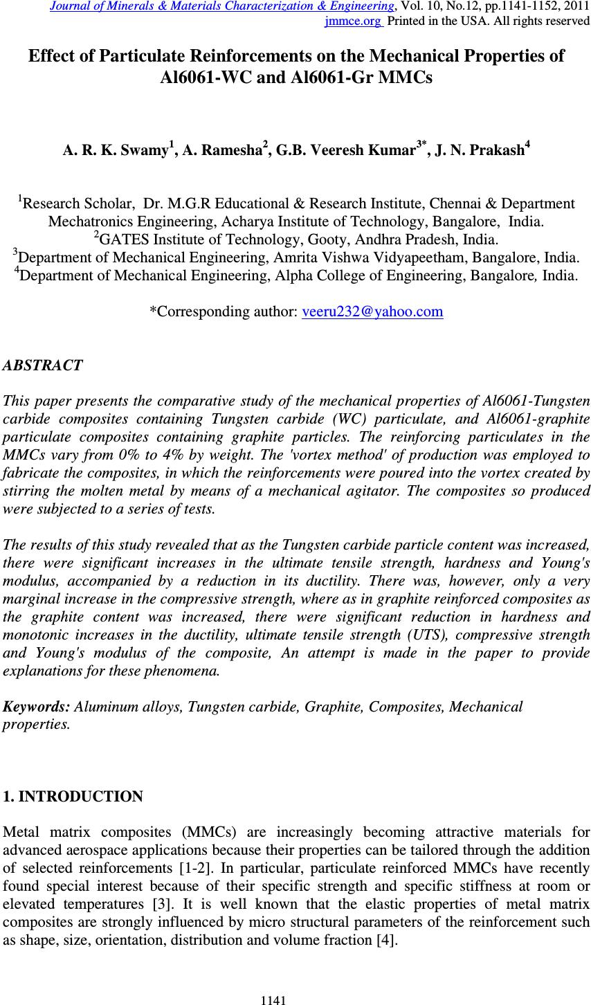 effect of particulate reinforcements on the mechanical properties  effect of particulate reinforcements on the mechanical properties of al6061 wc and al6061 gr mmcs