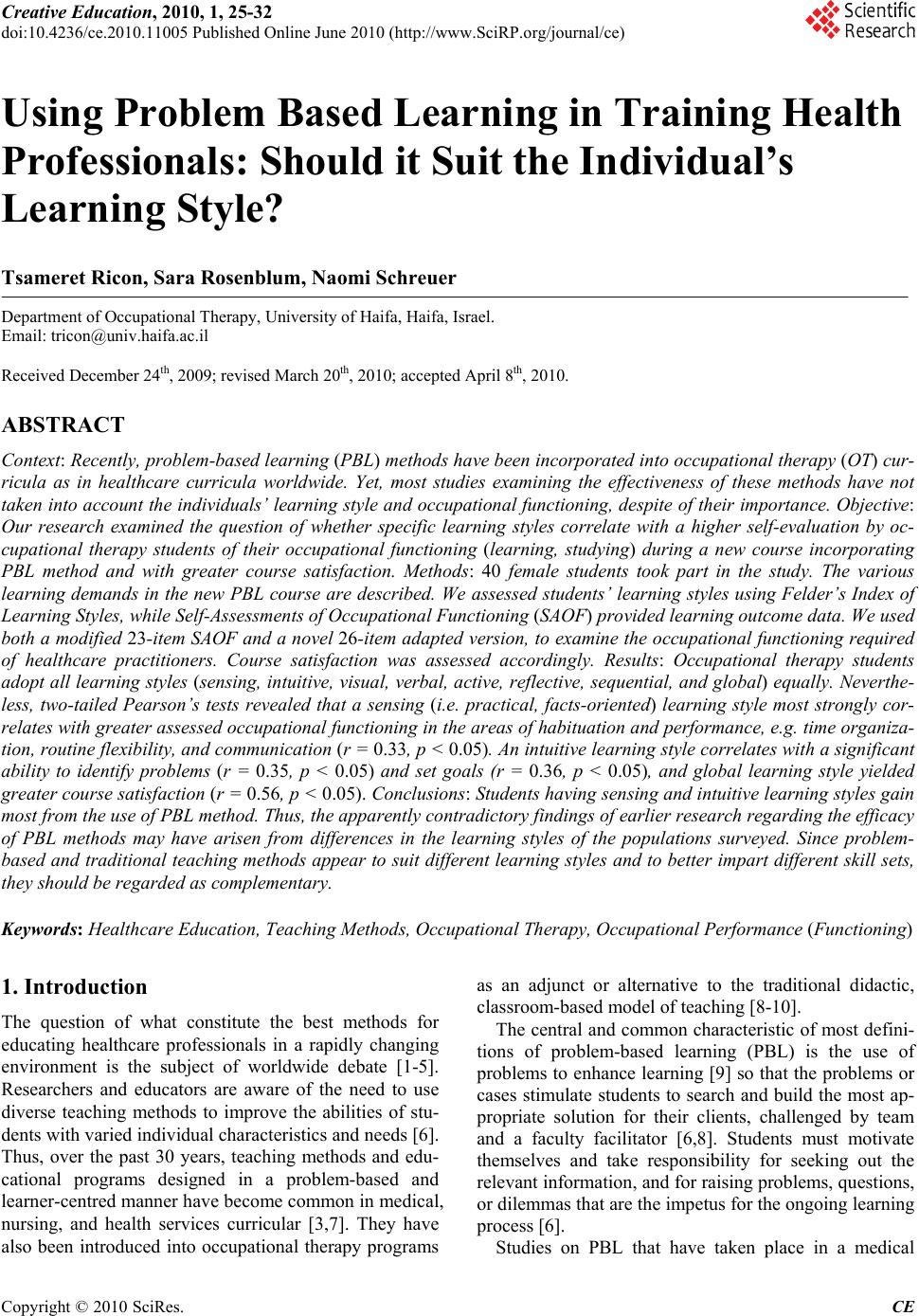 problem based learning research paper