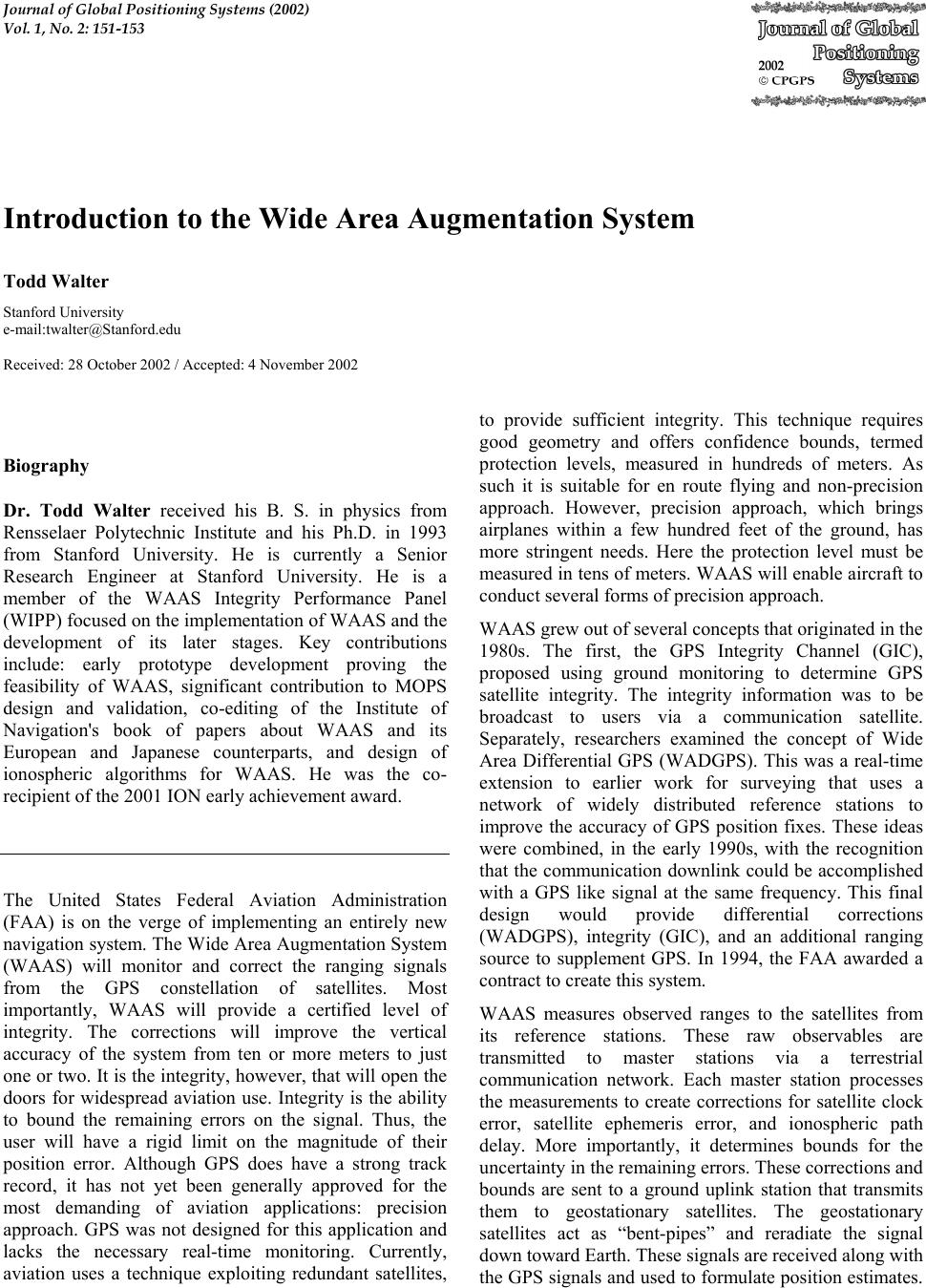 an introduction to the wide area augmentation system waas Augmentation construction stage (wide area augmentation system [waas]/   introduction to the current gnss augmentation technology.