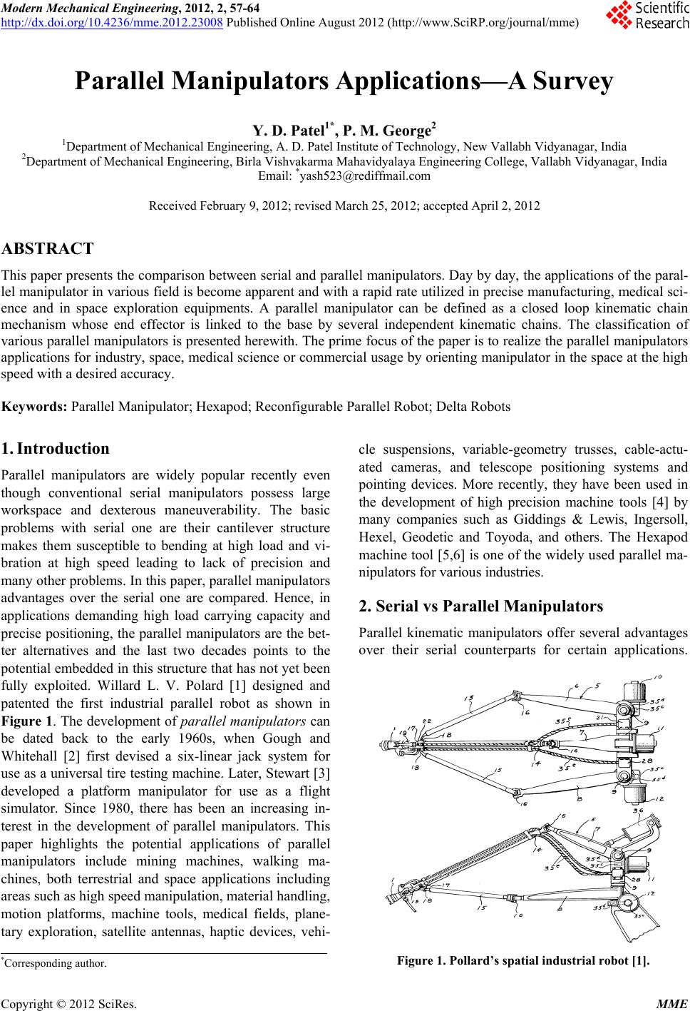 Parallel Manipulators Applications—A Survey