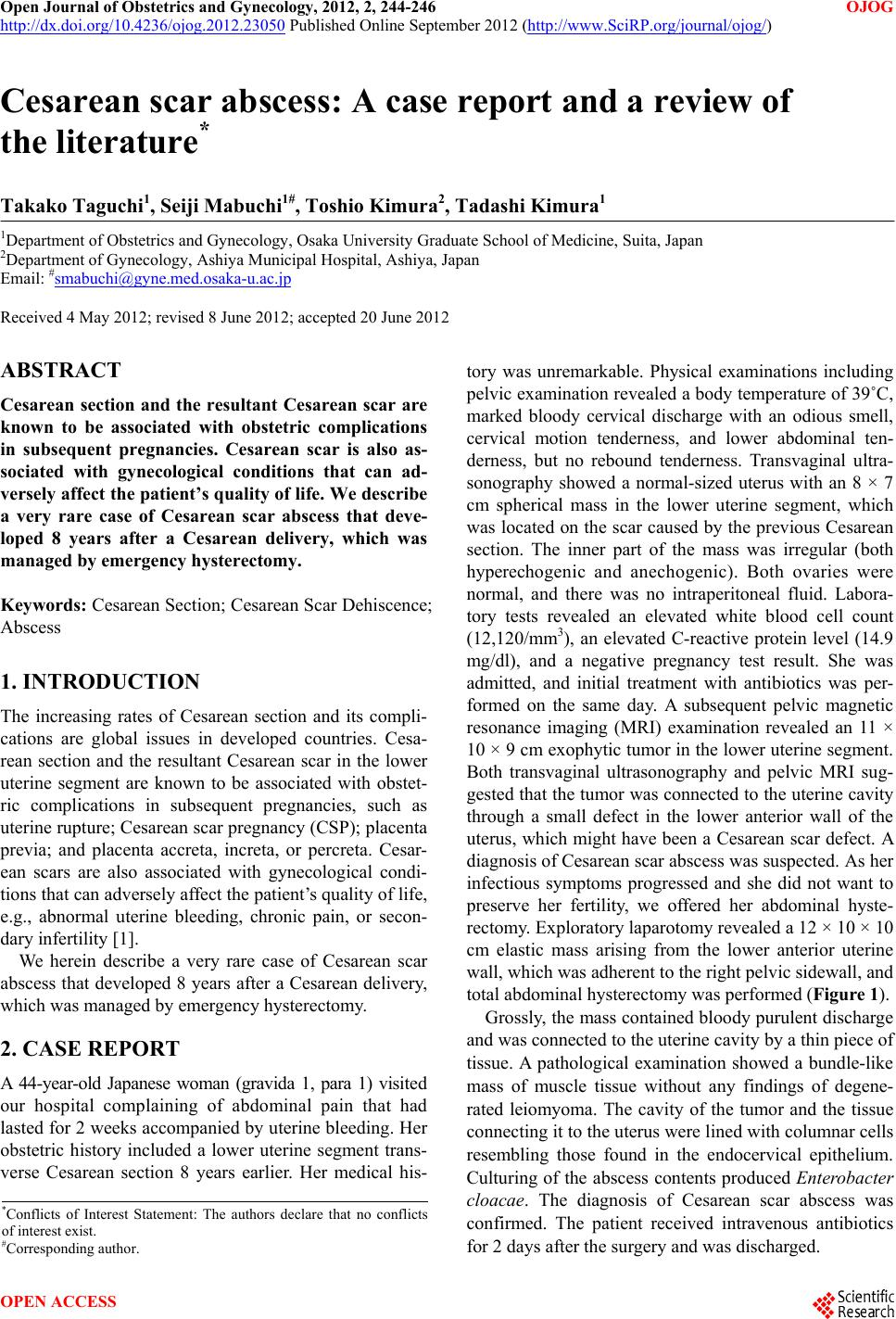 Cesarean scar abscess: A case report and a review of the ...