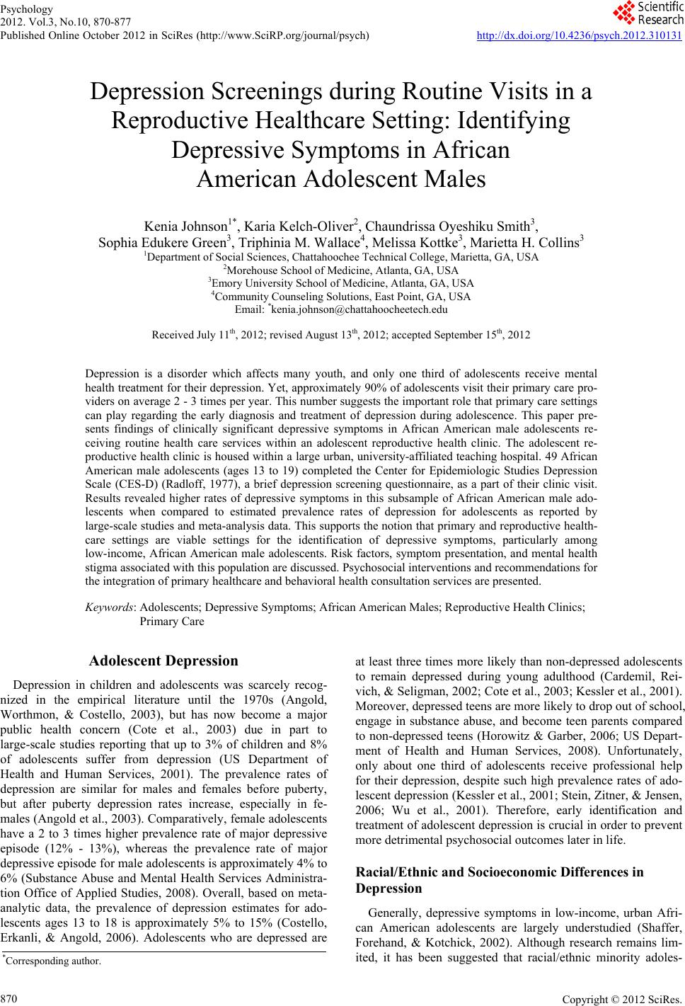 depression screenings during routine s in a reproductive depression screenings during routine s in a reproductive healthcare setting identifying depressive symptoms in african american adolescent males