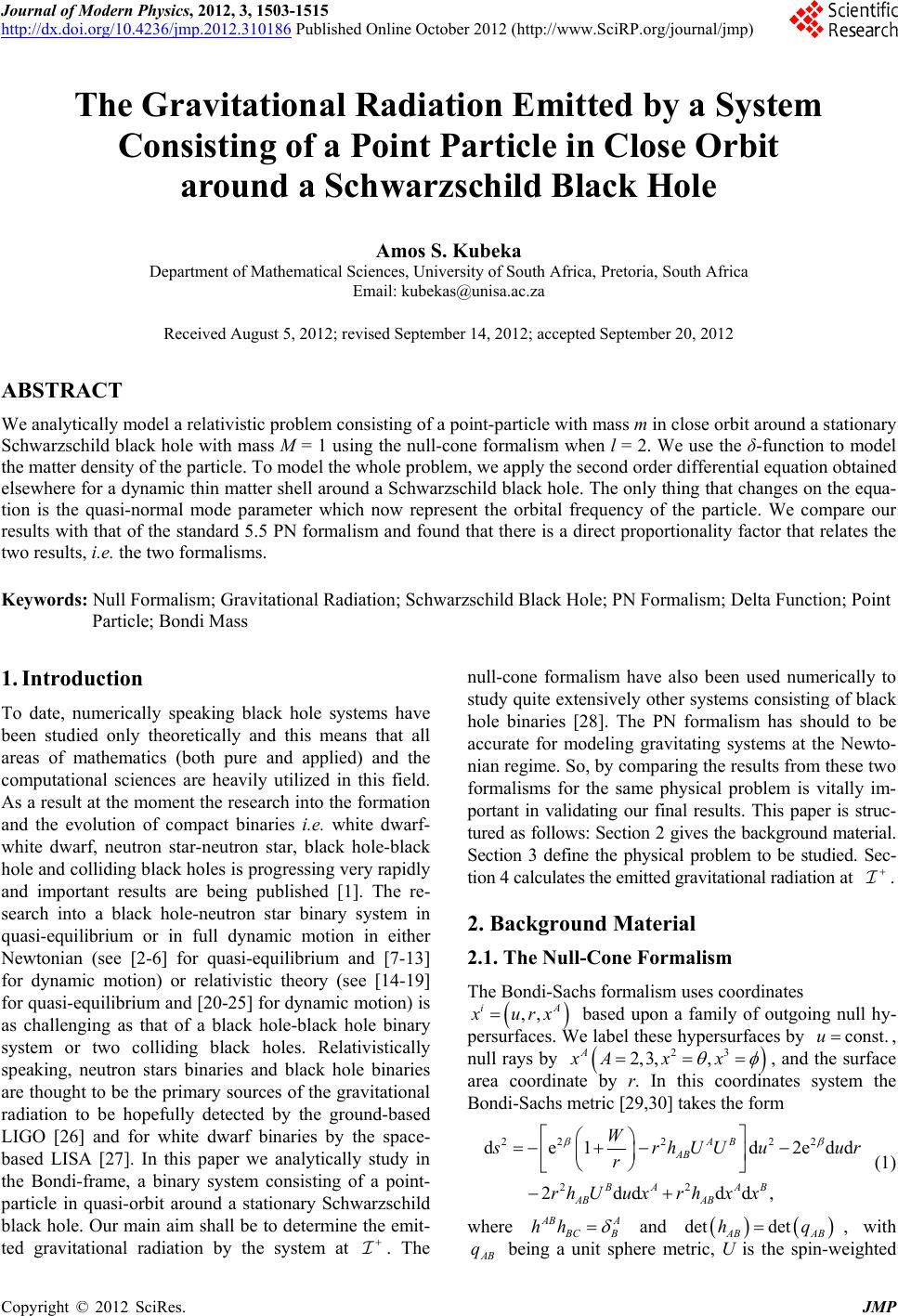 Journal Of Modern Physics 2012 3 1503 1515