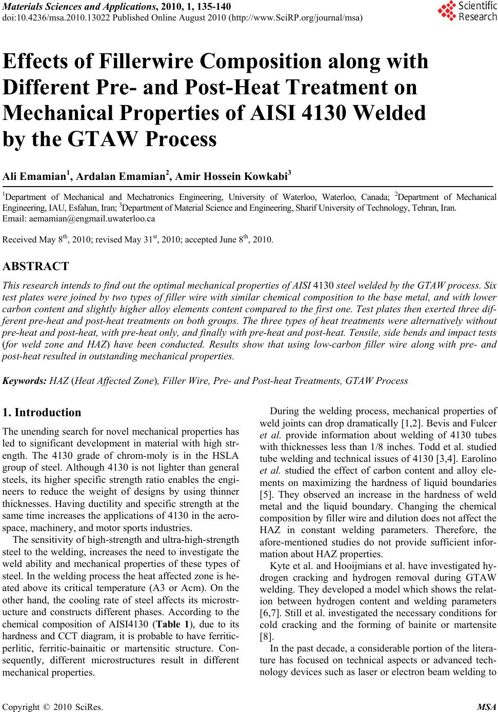 Effects Of Fillerwire Composition Along With Different Pre And Post Pwht Wiring Diagram Heat Treatment On Mechanical Properties Aisi 4130 Welded By The Gtaw Process
