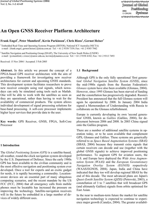 An Open GNSS Receiver Platform Architecture