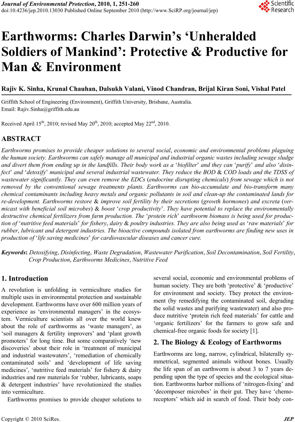 earthworm environment essay Search for more papers by this author h wyman dorough corresponding author  , on‐site methods for assessing chemical impact on the soil environment using earthworms: a case study at the baird and mcguire superfund site, holbrook, massachusetts,.