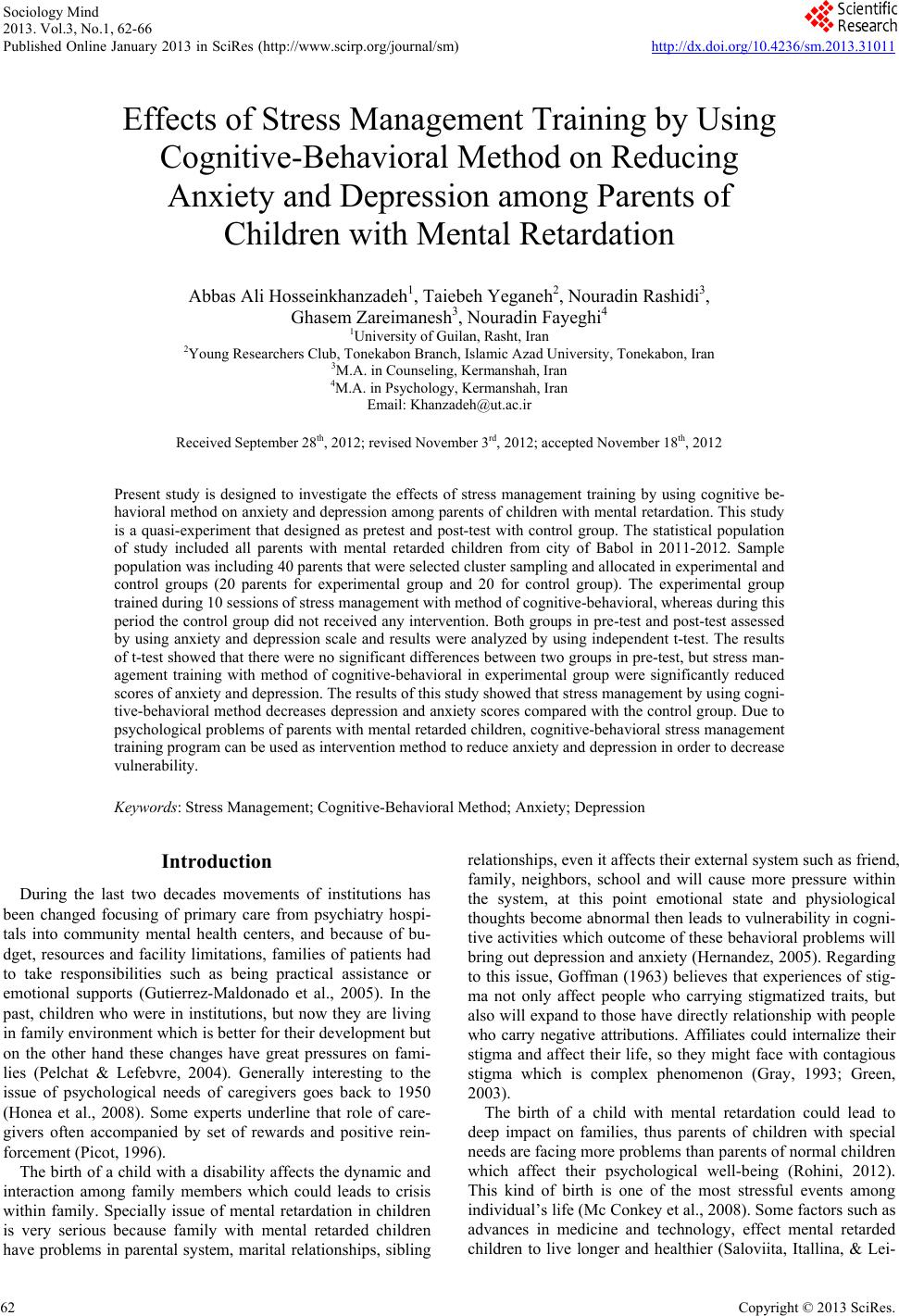 effects of stress management training by using cognitive effects of stress management training by using cognitive behavioral method on reducing anxiety and depression among parents of children mental