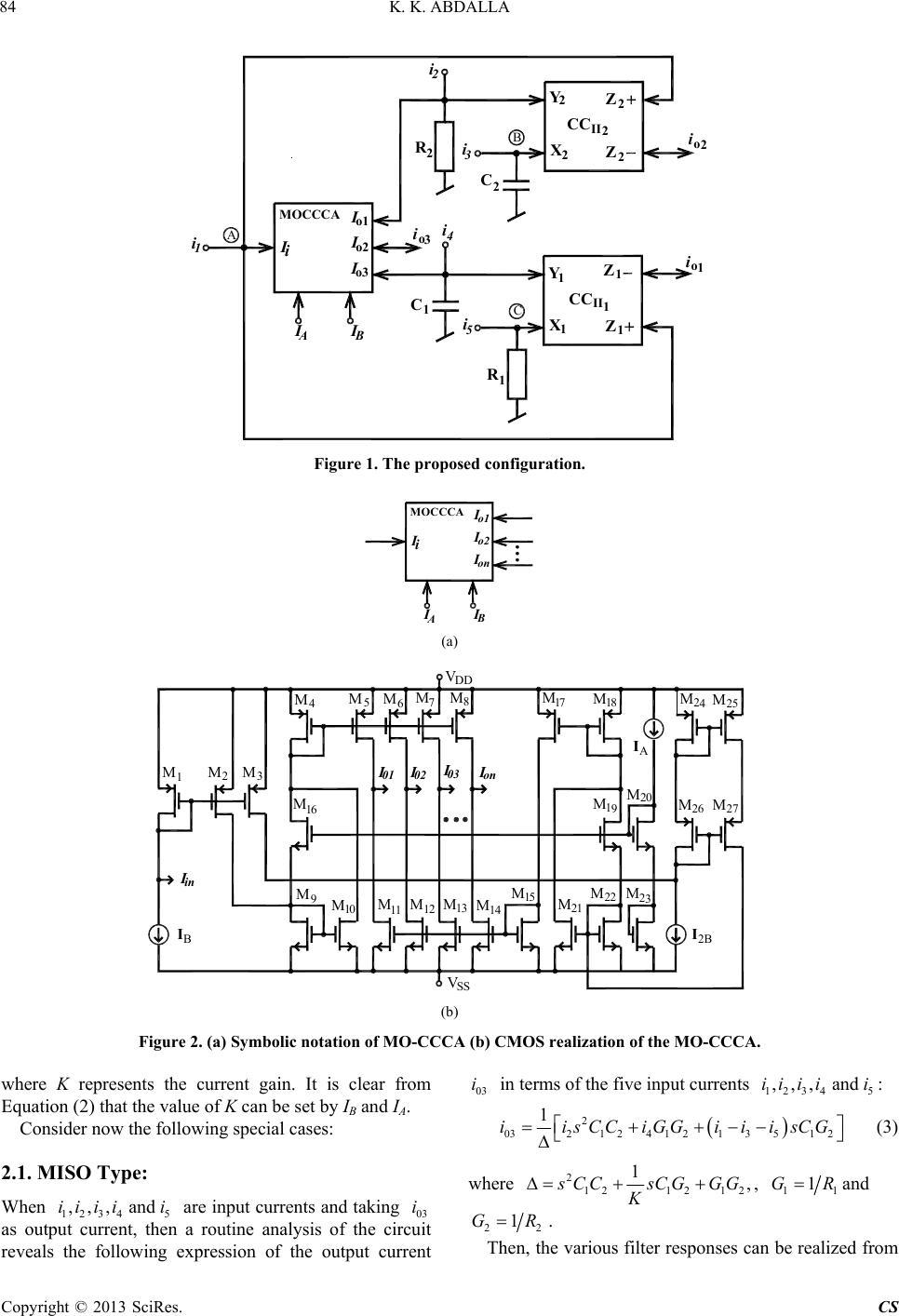 Universal Current Mode Biquad Employing Dual Output Circuit Diagram Notation K Abdalla