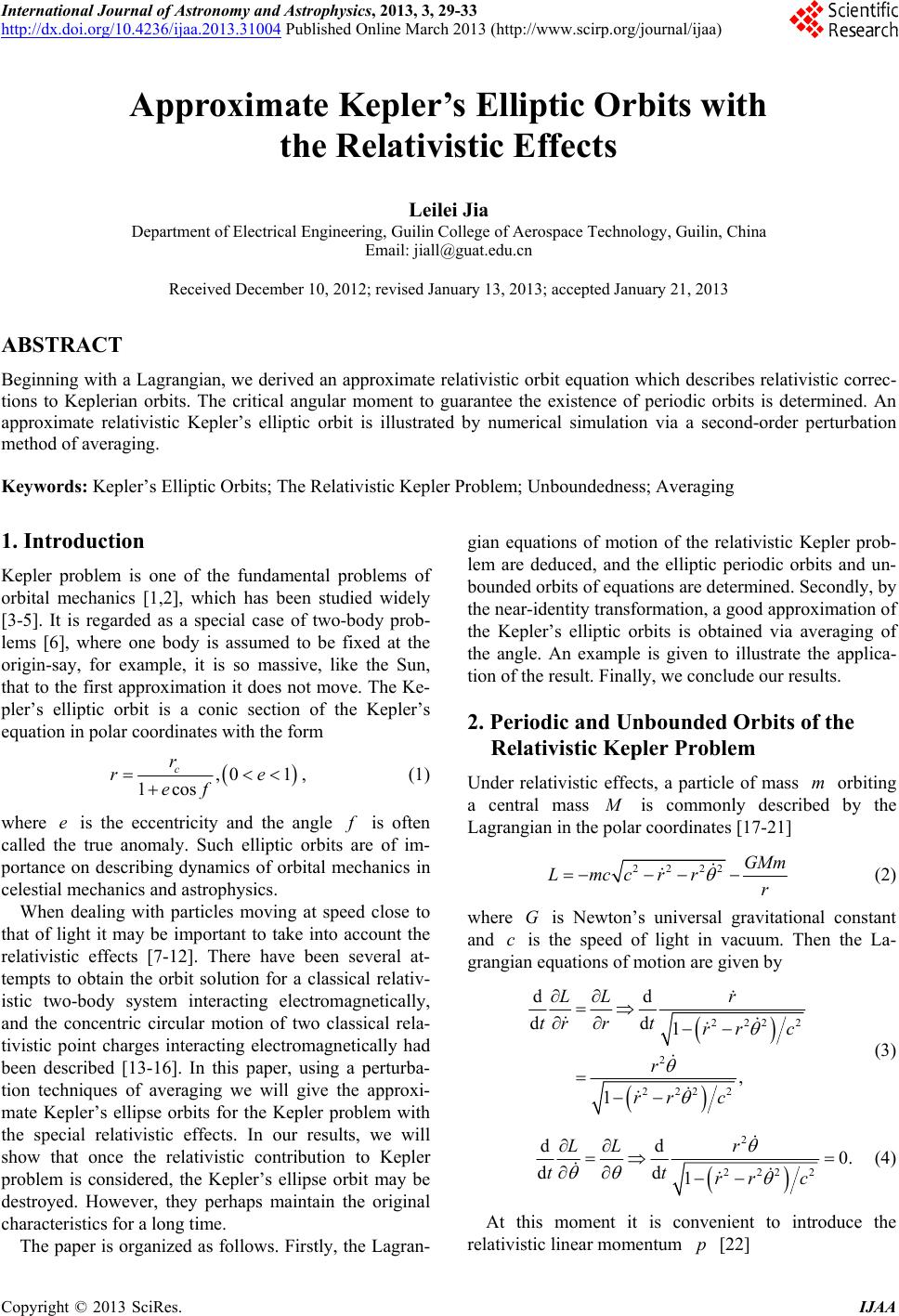 Approximate Kepler S Elliptic Orbits With The Relativistic