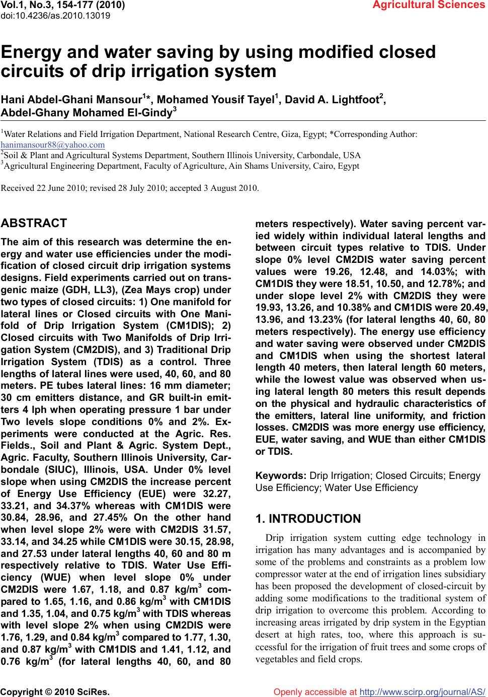 Energy And Water Saving By Using Modified Closed Circuits Of Drip Circuit Wizard Standard Edition Simulation Menu Window Vol1 No3 154 177 2010 Agricultural Sciences