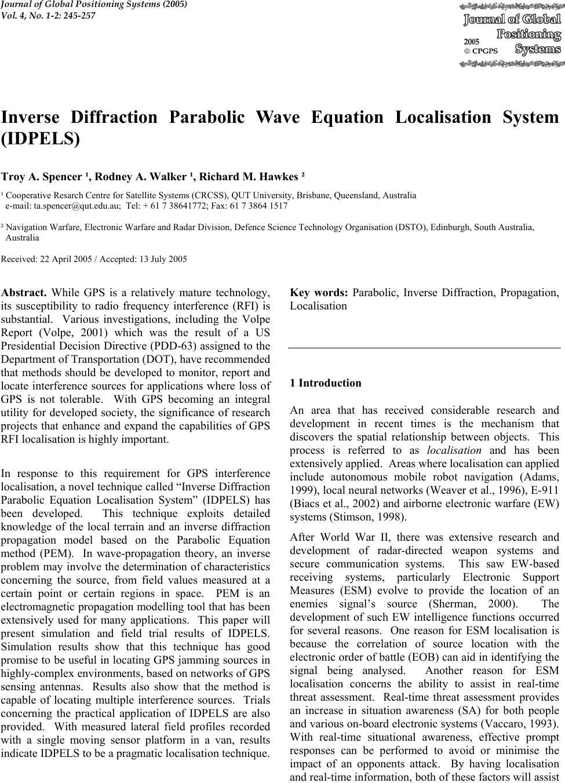 Inverse Diffraction Parabolic Wave Equation Localisation