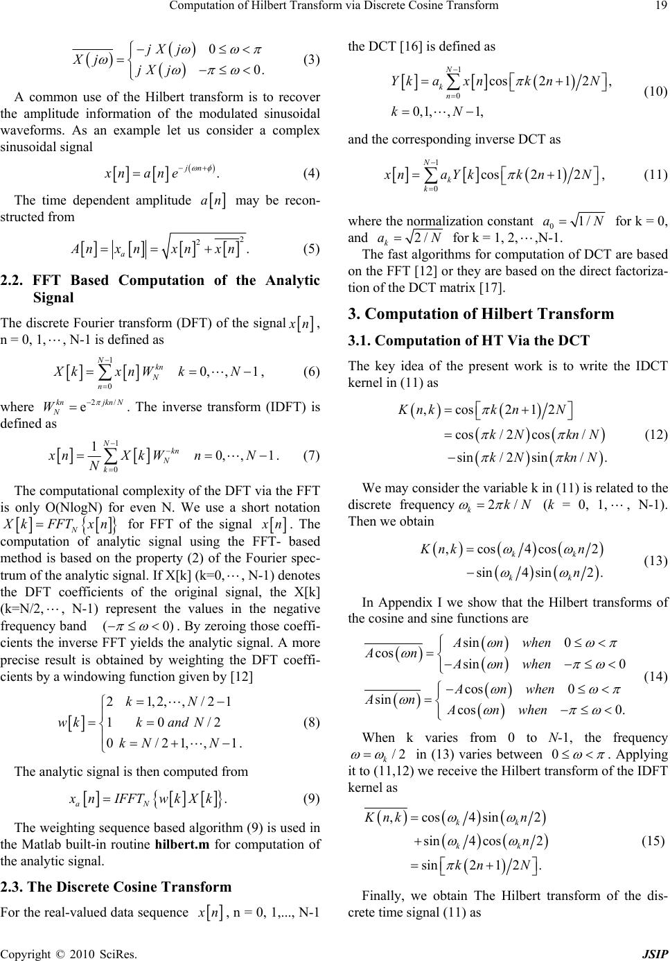 Computation of Hilbert Transform via Discrete Cosine Transform