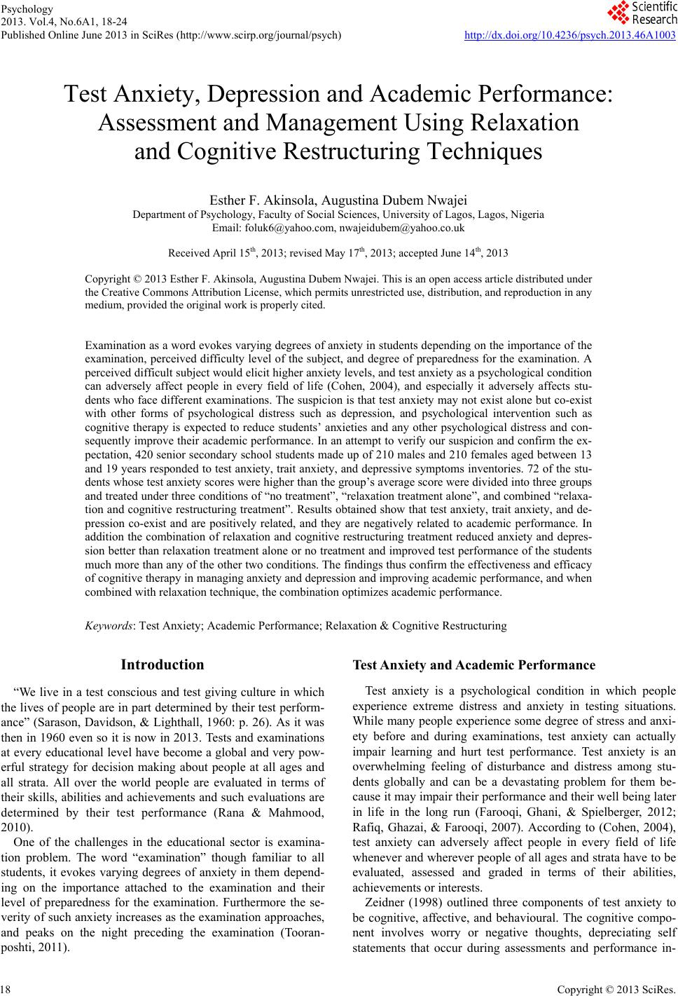 test anxiety depression and academic performance assessment and test anxiety depression and academic performance assessment and management using relaxation and cognitive restructuring techniques