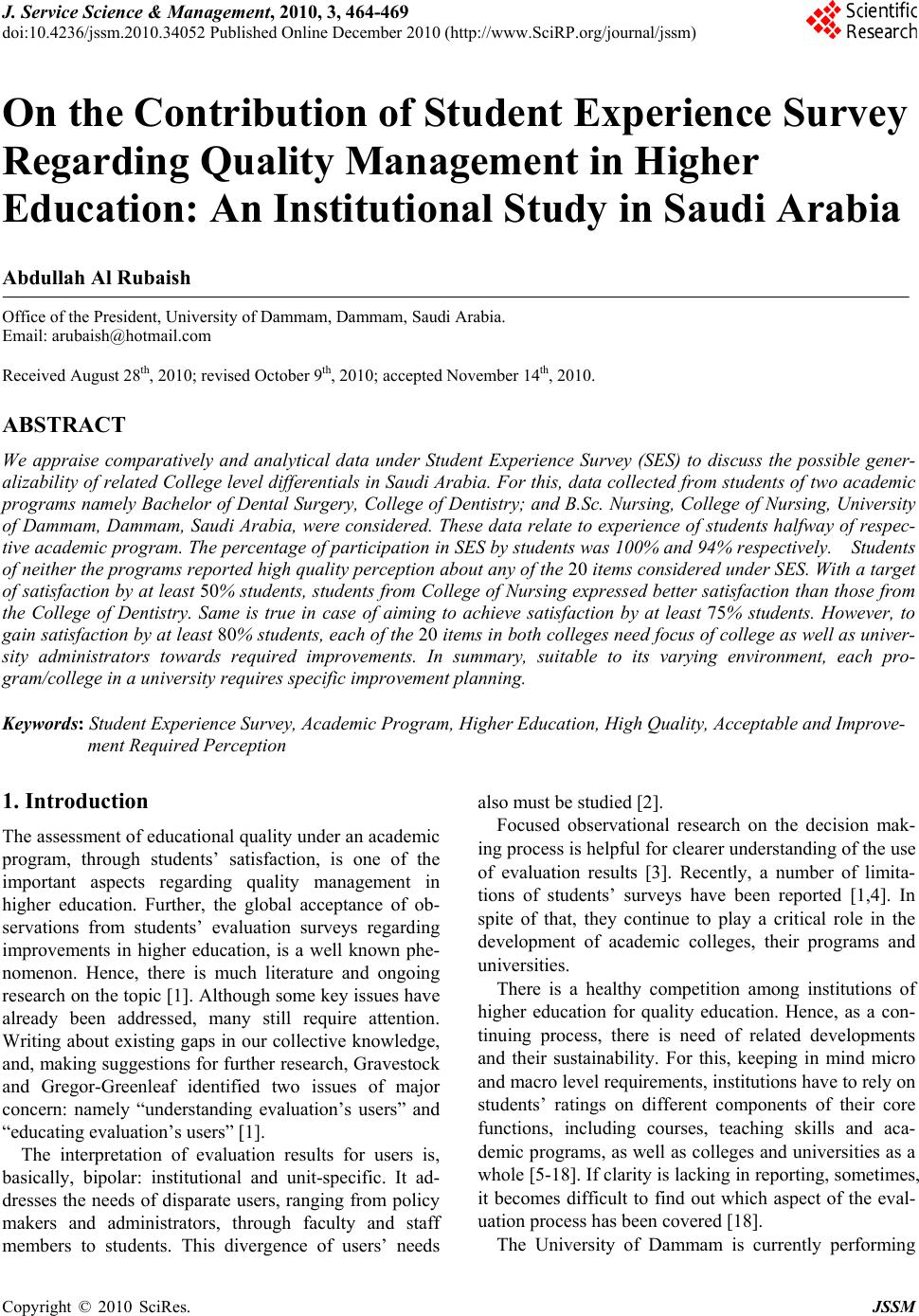 Compare And Contrast Essay Sample Paper On The Contribution Of Student Experience Survey Regarding Quality  Management In Higher Education An Institutional Study In Saudi Arabia How To Write A Business Essay also Business Essays Samples On The Contribution Of Student Experience Survey Regarding Quality  After High School Essay