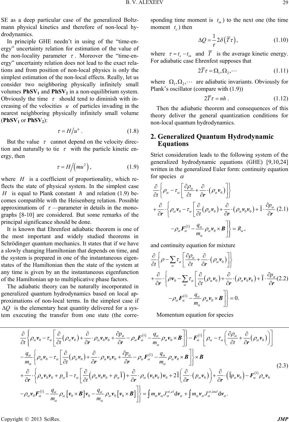 Application of the Non-Local Physics in the Theory of