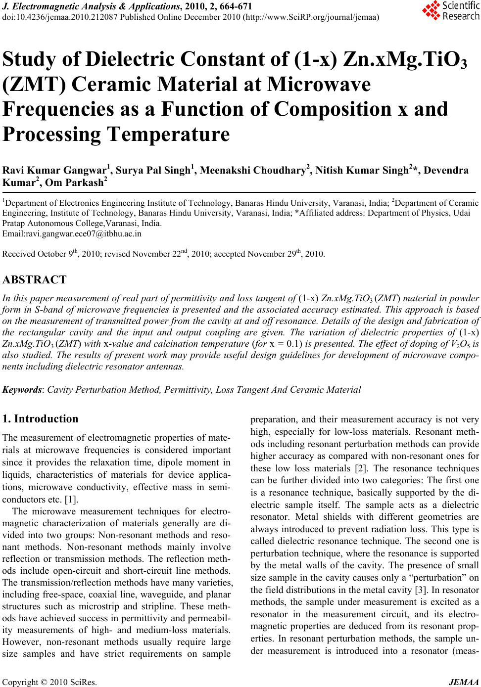 Study Of Dielectric Constant 1 X Znxmgtio3zmt Ceramic Measurement By Change In Using Resonance Circuit Material At Microwavefrequencies As A Function Composition Andprocessing Temperature