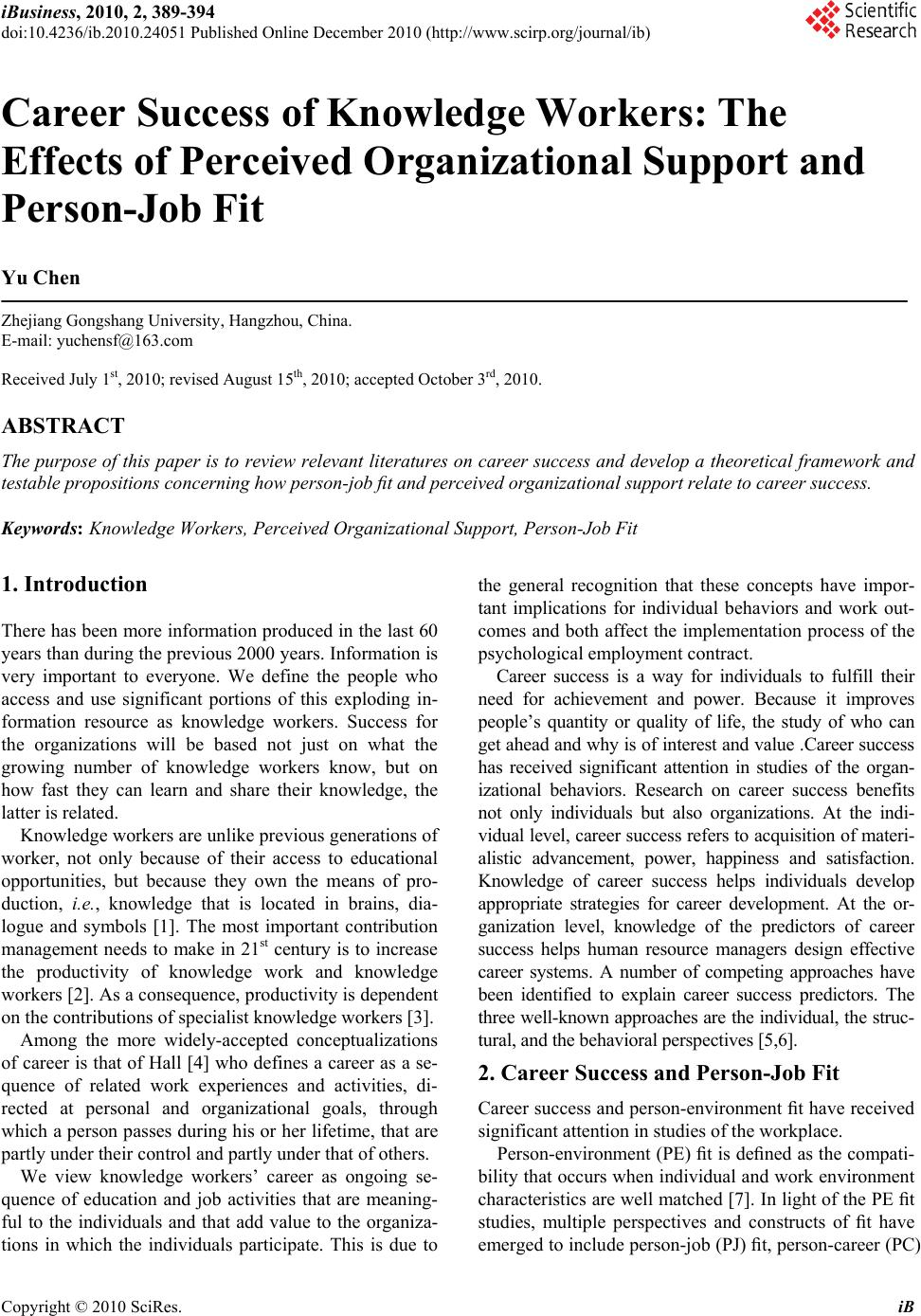 career success of knowledge workers the effects of perceived career success of knowledge workers the effects of perceived organizational support and person job fit