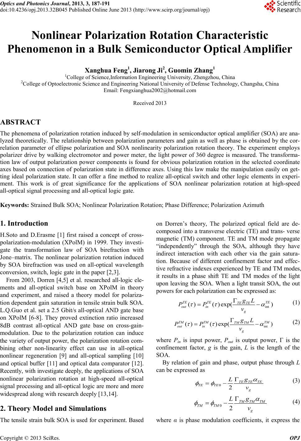 Nonlinear Polarization Rotation Characteristic Phenomenon in a Bulk