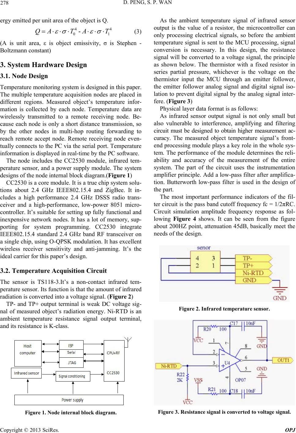 Industrial Temperature Monitoring System Design Based On Zigbee And Figure 3 Sensor Schematic D Peng S P Wan
