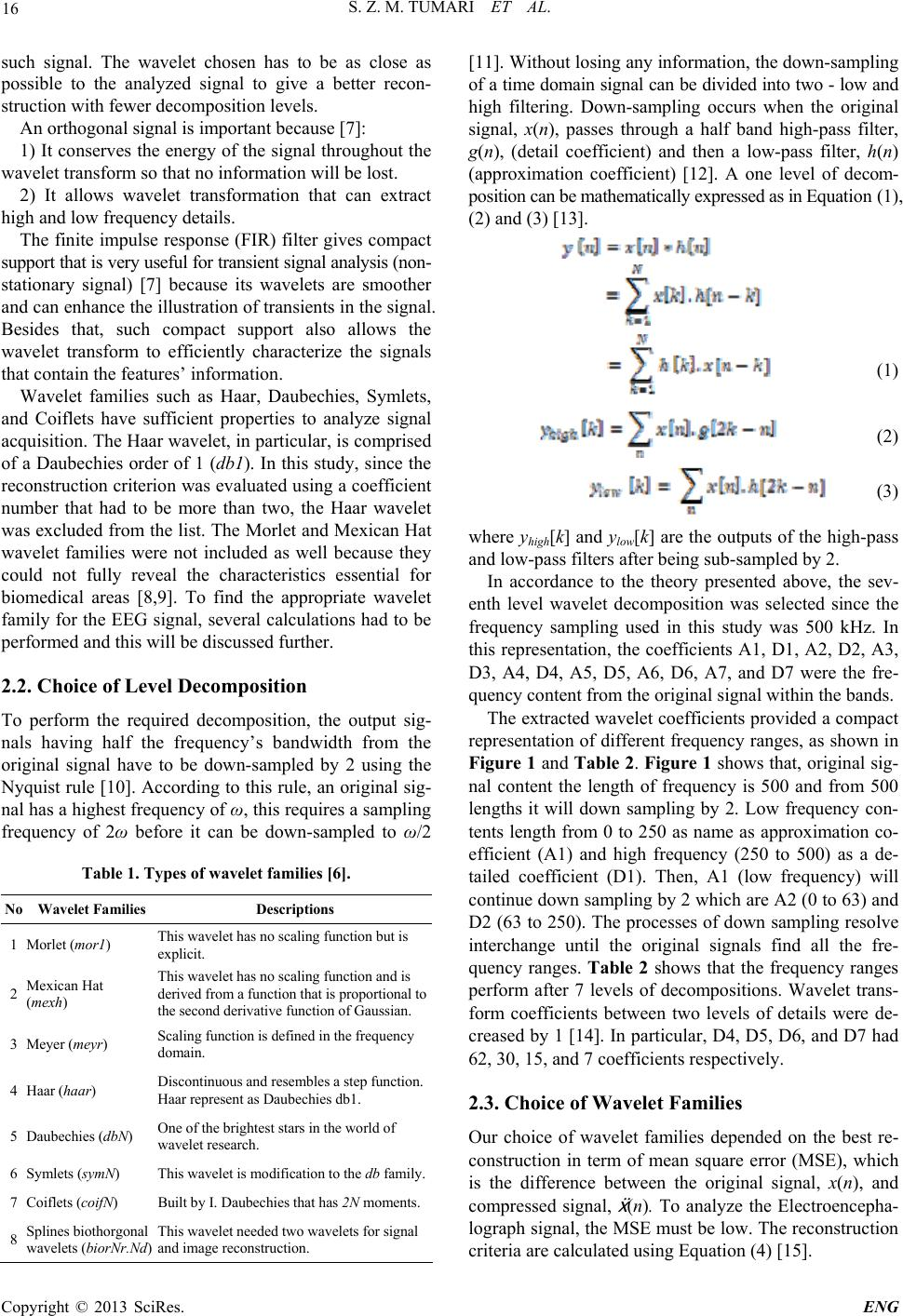 Selection of a Suitable Wavelet for Cognitive Memory Using