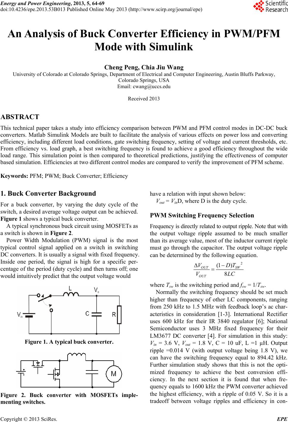 An Analysis of Buck Converter Efficiency in PWM/PFM Mode