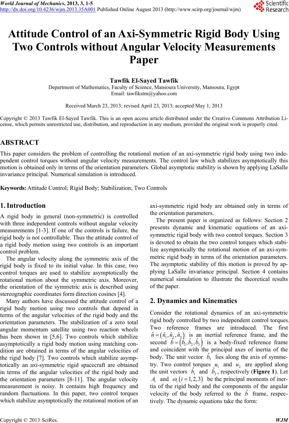 Popular Mechanics Subscription >> Attitude Control of an Axi-Symmetric Rigid Body Using Two Controls without Angular Velocity ...